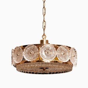 Swedish Brass & Crystal Ceiling Lamp by Carl Fagerlund for Orrefors, 1960s