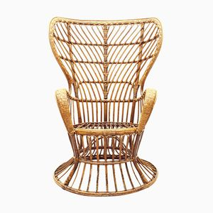 Italian Conte Biancamano Wicker Lounge Chair by Gio Ponti & Lio Carminati for Vittorio Bonacina, 1950s