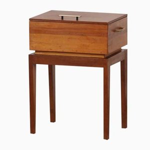 Teak & Pine Sewing Side Table, 1950s