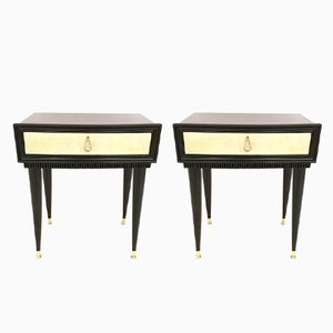 Rosewood Nightstands with Parchment Drawers, 1950s, Set of 2
