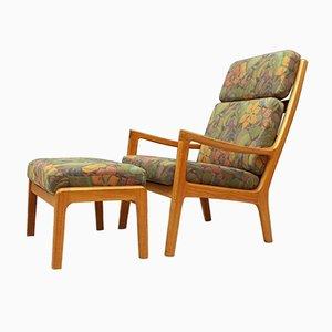 Danish Teak Senator Lounge Chair with Ottoman by Ole Wanscher for Poul Jeppesens Møbelfabrik A/S, 1970s