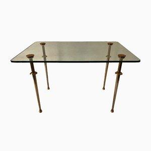 Tavolino da caffè vintage in ottone e vetro