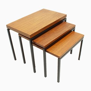 Dutch Teak & Metal Nesting Tables by Cees Braakman for Pastoe, 1950s