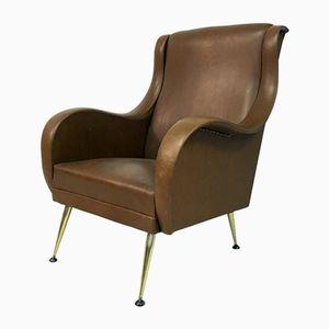 Vintage Belgian Armchair with Metal Legs