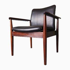 Sedie vintage in palissandro brasiliano e pelle nera di Cado, set di 2