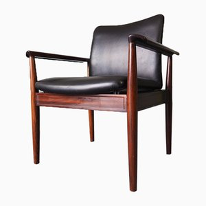 Vintage Rio Rosewood & Black Leather Armchair from Cado