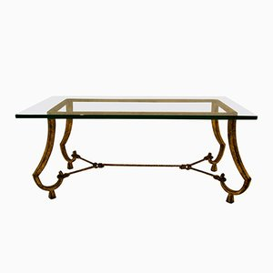 French Gilded Iron Coffee Table by Maison Ramsey, 1960s