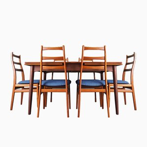 Mid-Century Extending Dining Table & 6 Teak Ladder Back Chairs
