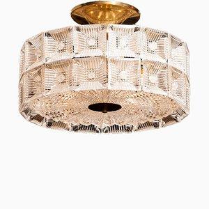 Lampada da soffitto grande in cristallo di Carl Fagerlund per Orrefors, anni '60