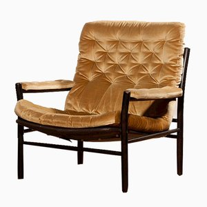 Golden Velvet Lounge Chair by Kenneth Bergenblad for Dux, 1970s