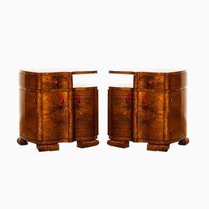 Art Deco Walnut Bedside Tables, Set of 2