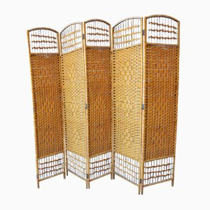 Hollywood Regency Bamboo Room Divider or Dressing Screen