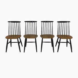 Vintage Fanett Holzstabstühle von Ilmari Tapiovaara für Edsby Verken, 4er Set