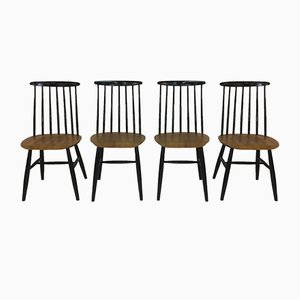 Vintage Fanett Spindle Back Chairs by Ilmari Tapiovaara for Edsby Verken, Set of 4