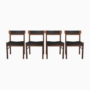 Dänische Mid-Century Esszimmerstühle von Anders Jensen, 4er Set