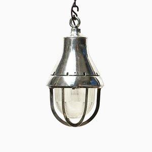 Lampe à Suspension Industrielle en Aluminium Moulé Poli, États-Unis, 1950s