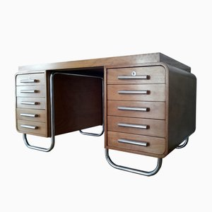 Gabon Veneered & Chromed Steel Desk from Hynek Gottwald, 1930s