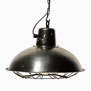 Lámpara colgante industrial vintage con rejilla metálica