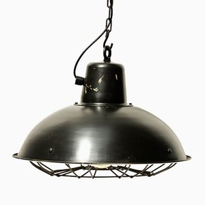 Vintage Industrial Pendant with Metal Grid