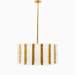 Gold-Plated & Frosted Ice Glass Drum Pendant from Kalmar, 1960s