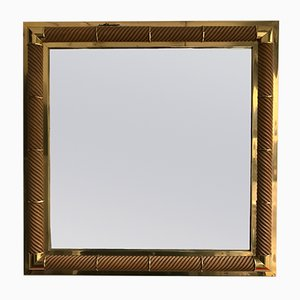 French Mirror in Brass & Wood from Galerie Maison et Jardin, 1970s