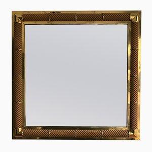 Specchio in ottone e legno di Galerie Maison et Jardin, Francia, anni '70