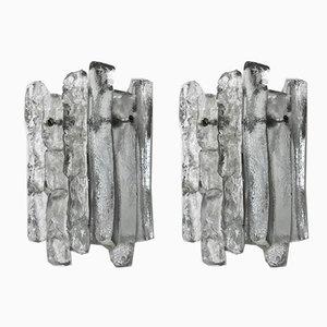 Glas Wandlampen von J. T. Kalmar, 1960er, 2er Set