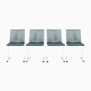 Samt Esszimmerstühle von Giovanni Offredi für Saporiti, 1970er, 4er Set