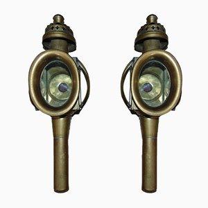 Lampade ad olio antiche in ottone, set di 2