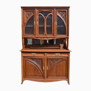 Art Nouveau 2-Part Chestnut Buffet with Vine Decor