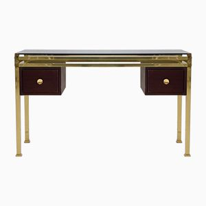 Vintage Console or Dressing Table with Tinted Glass Top & Brass Frame