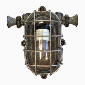 Lámpara de pared de fábrica vintage de hierro fundido gris, años 60