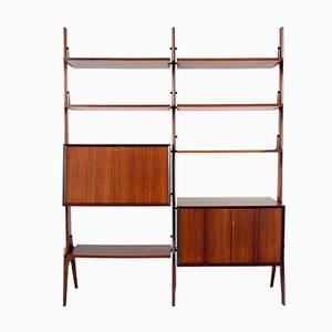 Rosewood Freestanding Shelving Unit with Sculptural Details, 1950s