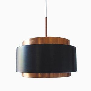 Lampe à Suspension en Verre Opalin et Cuivre de Stilnovo, 1950s