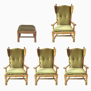 4 Armchairs and 1 Stool by Guillerme et Chambron, 1950s