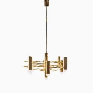 Lampe à Suspension Géométrique en Plaqué Laiton par Gaetano Sciolari pour Boulanger, 1960s
