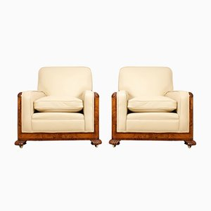 Art Deco Burr Walnut Armchairs, Set of 2