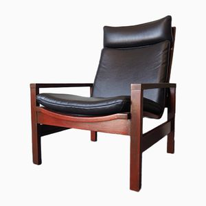 Mid-Century Rosewood & Black Leather Armchair from Cornwell-Norton