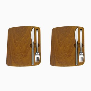 German Teak Picnic Boards with Cutlery from BSF, 1960s, Set of 2