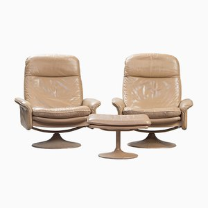 Model DS-50 Reclining Leather Armchairs with Ottoman from de Sede, 1970s