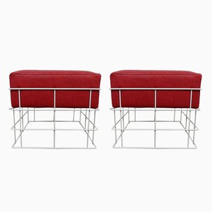 Square Wire Stools with Red Cushions, 1960s, Set of 2