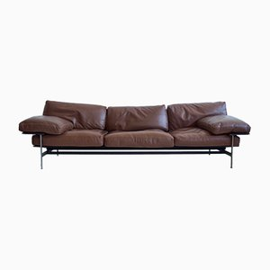 Diesis Leder Sofa von Antonio Citterio & Paolo Nava Brown für B&B Italia, 1980er