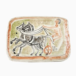 Hand Painted Gypsum Charioteer Wall Tray by Eduard Bargheer, 1970s