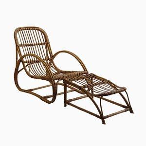 Chaise et Repose-pieds Invincible en Jonc de Angraves, 1960s