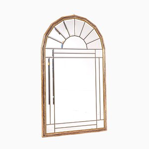 Pagode Beveled Mirror in Wood & Brass, 1970s