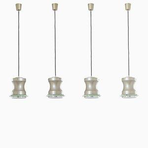 Lámpara colgante de vidrio, aluminio y metal de Stilnovo, años 60. Juego de 4