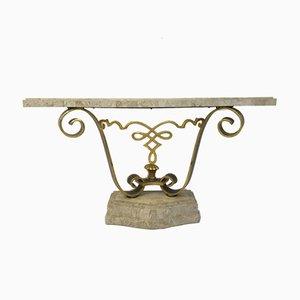 Mesa consola vintage de piedra teselada de Maitland Smith
