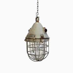 Lámpara enjaulada industrial para búnker en gris a prueba de explosión de EOW, años 60