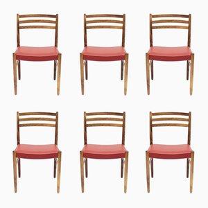 Palisander & Leder Stühle von Nils Jonsson für Troeds, 1960er, 6er Set