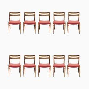 Chaises en Palissandre et Cuir par Nils Jonsson pour Troeds, 1960s, Set de 10